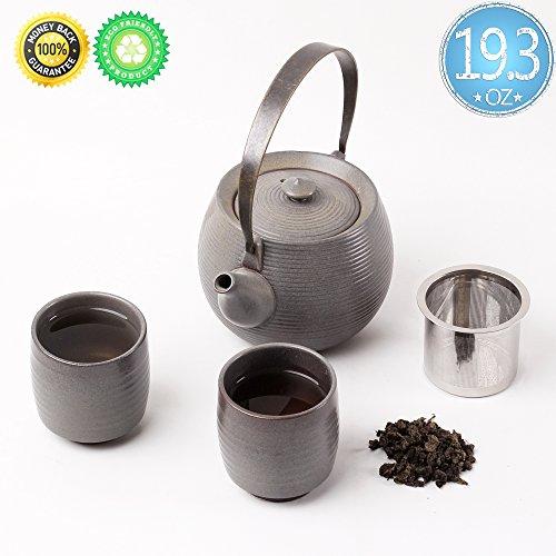 Ceramic Tea-Set For 2Gift BoxTEANAGOO-MimasTea-pot193ozInfuser Filter Strainerinfused 2 cup58ozChinese Porcelain Handle Diffuser Warmer Unique Asian Adult Kongfu Japan Loose leaf Tea Stove