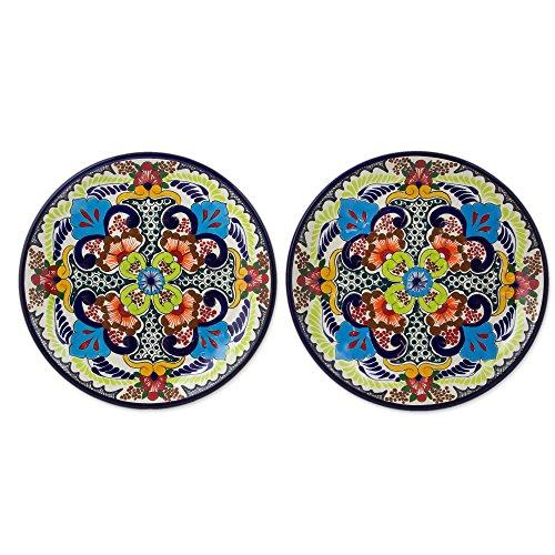 NOVICA Multicolor Ceramic Floral Dinner Plates Blue Teziutlan pair