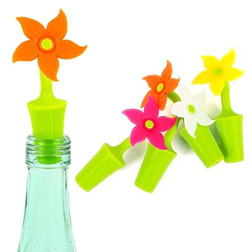 Bottle Stop Silicone Wine Preserver Bottle Stopper 4 Pcs Flower Wine Bottle Stop