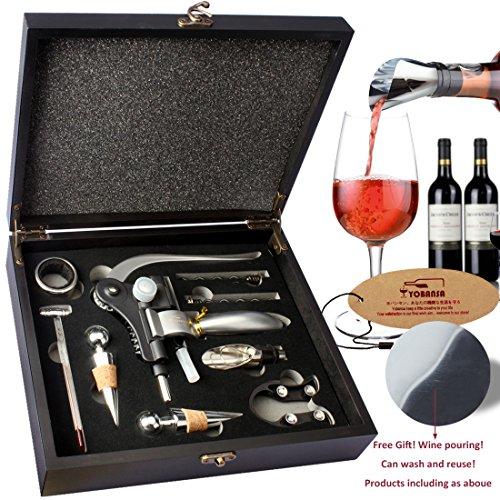 YOBANSA Wine Opener Stopper and Pourer SetRabbit Corkscrew SetBlack Wooden Box Wine Accessories Set Black01