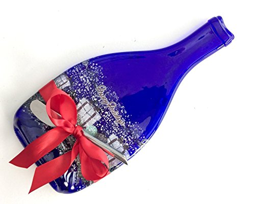 Happy Holidays Melted Sparkling Wine Bottle Cheese Plate with Cheese Spreader Melted Champagne Wine Bottle Holiday Hostess Gift