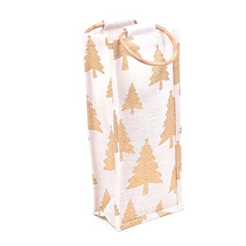 Christmas Tree Gold White Jute Wine Bag