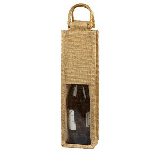 Homeford FHV000B16502 Clear Window Jute Wine Bag Wooden Handle 5 Pack 14