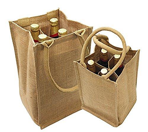 Jute Burlap 4 Bottle Wine Carrier Reusable Jute Wine Tote Bags w Dividers 3