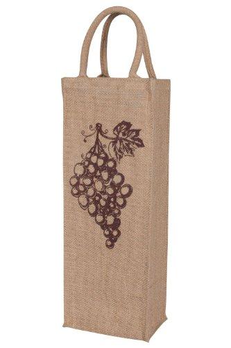 KAF Home Jute Wine Bag with Grapes Print Holds 1 Bottle Durable Handle Reinforced Bottom