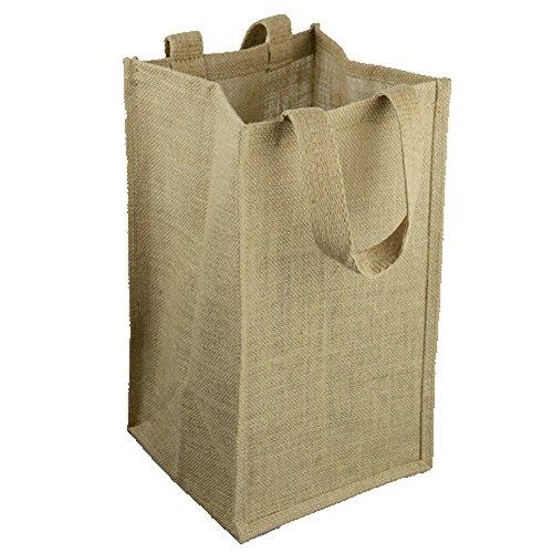 Natural Jute Burlap Wine Gift Tote Bag Wine Carrier Holder w Divider 4 Bottle Wine Carrier
