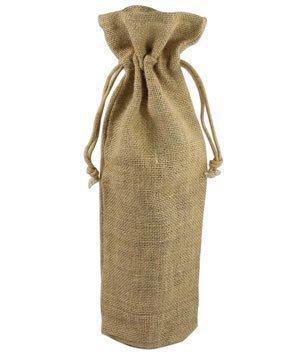 Natural Jute Wine Bags With Drawstrings - 5 Pack