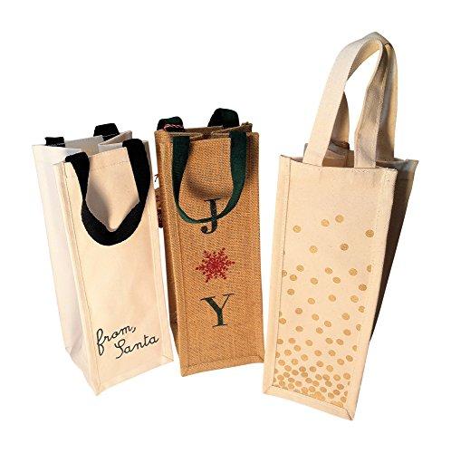 Set of 3 Holiday Reusable Cotton Jute Wine Bags Single Bottle Gift Wrap Joy From Santa