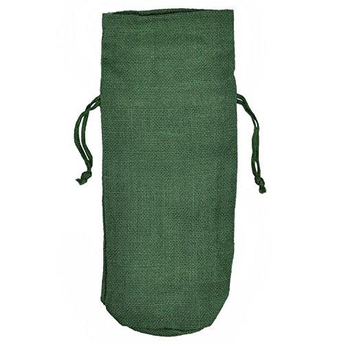 Wedding Favor Single Bottle Jute Burlap Wine Bags with Drawstring Pack of 5 HUNTER GREEN