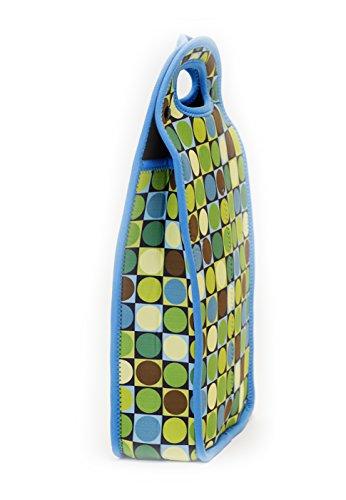 Zees Inc Pocket Bottles Neoprene Double Bottle Wine Tote GreenBlueBrown