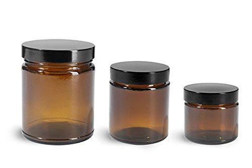 8 oz Glass Jars Amber Glass Straight Sided Jars w Black Phenolic Lined Caps 12 Jars