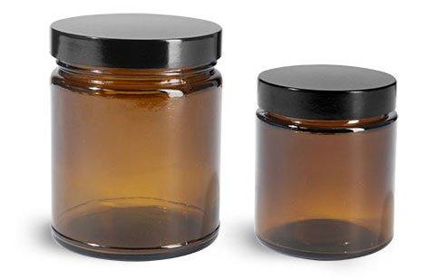 8 oz Glass Jars Amber Glass Straight Sided Jars w Black Phenolic Teflon Lined Caps 24 Jars
