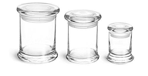 8 oz Glass Jars Clear Glass Candle Jars w Glass Flat Pressed Lids 12 Jars