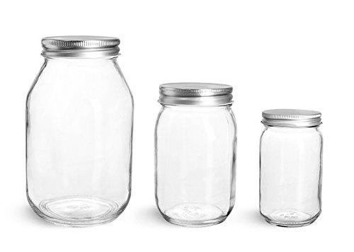 8 oz Glass Jars Clear Glass Mayo Economy Jars w Silver Metal Plastisol Lined Caps 12 Jars