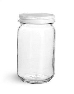 8 oz Glass Jars Clear Glass Mayo Economy Jars w White Metal Plastisol Lined Caps 12 Jars