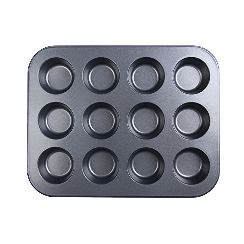 Whitelotous Stainless Iron Nonstick 12 Cup Muffin Pan Baking Mold Cupcake Tray