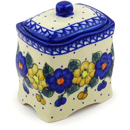 Ceramika Bona H0546F Polish Pottery Ceramic Jar with Lid Hand Painted 6-Inch