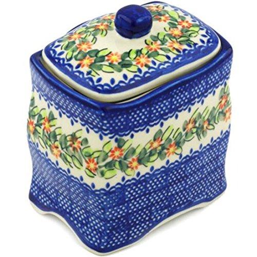 Ceramika Bona H0595H Polish Pottery Ceramic Jar with Lid Hand Painted 6-Inch