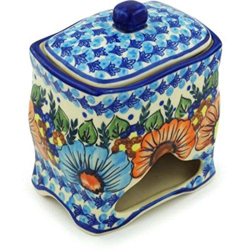 Ceramika Bona H0811H Polish Pottery Ceramic Jar with Lid Hand Painted 6-Inch