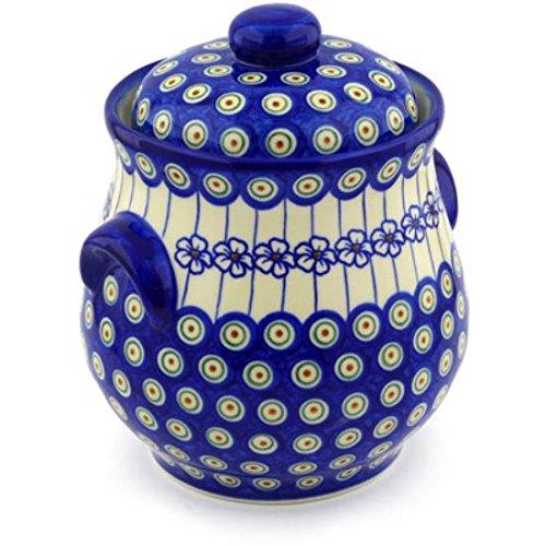 Ceramika Bona H0948F Polish Pottery Ceramic Jar with Lid and Handles Hand Painted 9-Inch