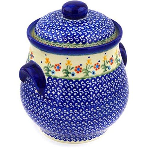 Ceramika Bona H3553E Polish Pottery Ceramic Jar with Lid and Handles Hand Painted 9-Inch