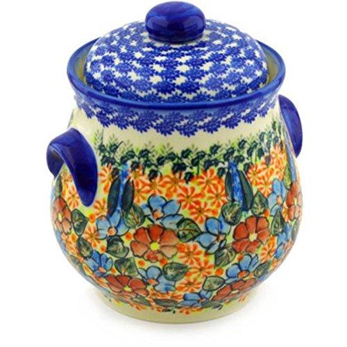 Ceramika Bona H4978F Polish Pottery Ceramic Jar with Lid and Handles Hand Painted 9-Inch