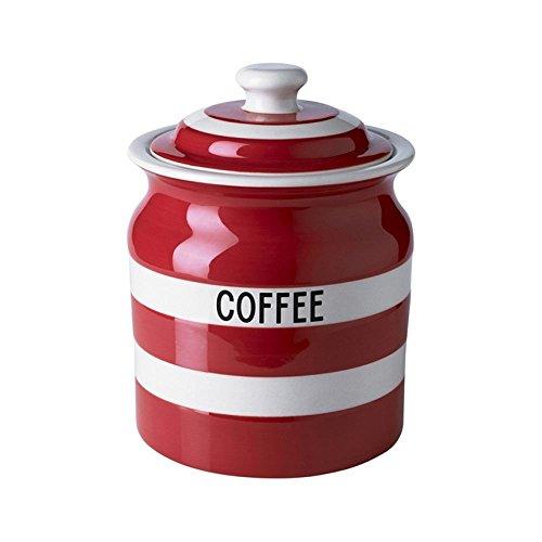 Cornishware Red and White Stripe Coffee Storage Jar 30oz