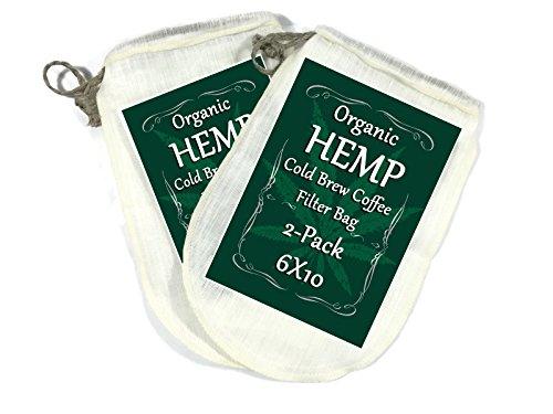 Organic Hemp Cold Brew Coffee Filter Bag - Nut Milk Bag - 6x10 - 2 Packs - 100 Natural No Harmful Chemicals