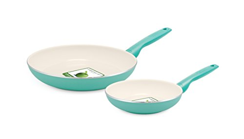 GreenPan Rio 8 Inch and 10 Inch Ceramic Non-Stick Fry Pan Set Turquoise