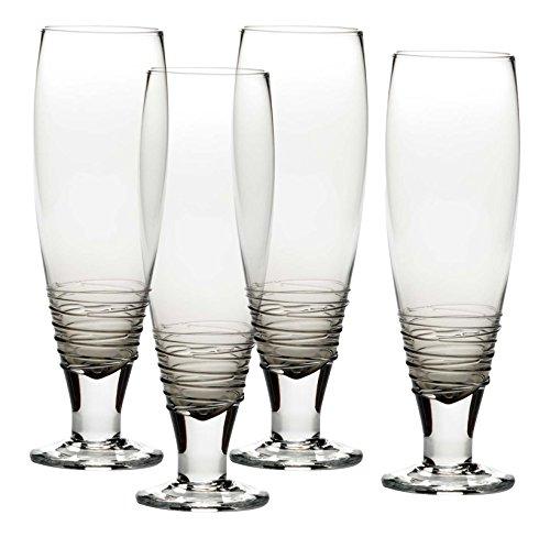Mikasa Swirl Smoke Pilsner Beer Glass Set of 4 27 oz Gray
