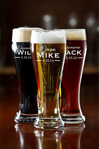 Personalized Pilsner Beer Mug Groomsman Mug Engraved Mug Sandblasted Glass Beer Mug Sold Individually