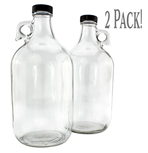 64-Ounce  Half Gallon Clear Glass Kombucha Growler Jugs w Black Phenolic Lids 2-Pack Great for Home Brew Distilled Water Cider More