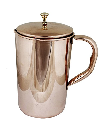 AVS STORE  Pure Copper Pitcher Jug with 2 Copper Tumbler Glasses for Ayurveda Healing