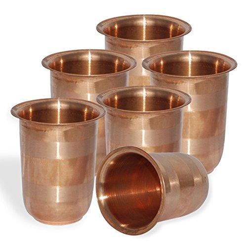 DakshCraft Handmade Small Pure Copper Tumbler Glass Set of 6