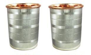 Global Mart Copper Tumbler Glass for Healing Inside Copper Outside Steel 12 Ounce Set of 2