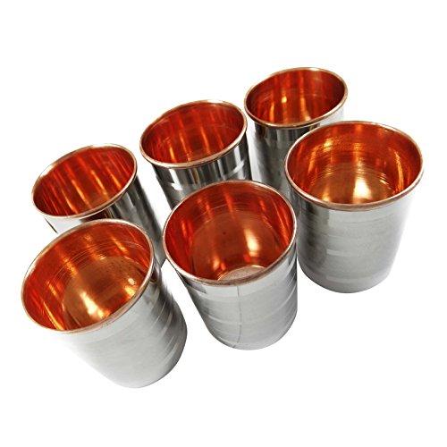 India Copper Tumbler Glasses Kitchenware Tableware Asian Drinkware Set Of 6