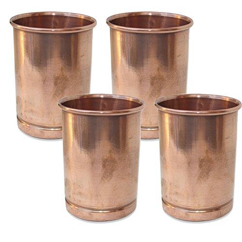 Set of 4 Copper Tumbler Glasses Drinkware Set Ayurveda Healing