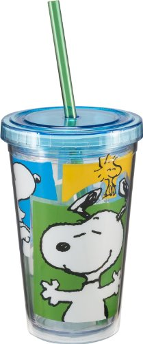 Vandor 85014 Peanuts Snoopy 12 oz Acrylic Travel cup with Lid and Straw Multicolor