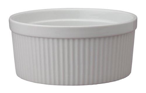 HIC Souffle Fine White Porcelain 8-Inch 64-Ounce 2-Quart Capacity