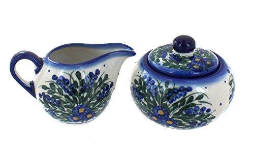 Polish Pottery Hyacinth Sugar Bowl Creamer Set
