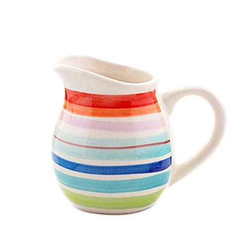 CHOOLD Colorful Hand-Painted Stripe Ceramic Creamer Coffee Milk Creamer PitcherServing PitcherSauce PitcherMilk Creamer Jug with Handle 10oz