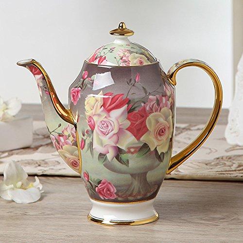 MueYan Painted Ceramic Frothing Pitcher Coffee Creamer Milk Jug Tea Pot with Lid