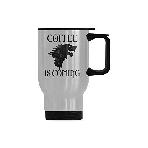 Travel Coffee Mug Coffee Is Coming Water Coffee Cup Stainless Steel Tea Cup 14 Ounce