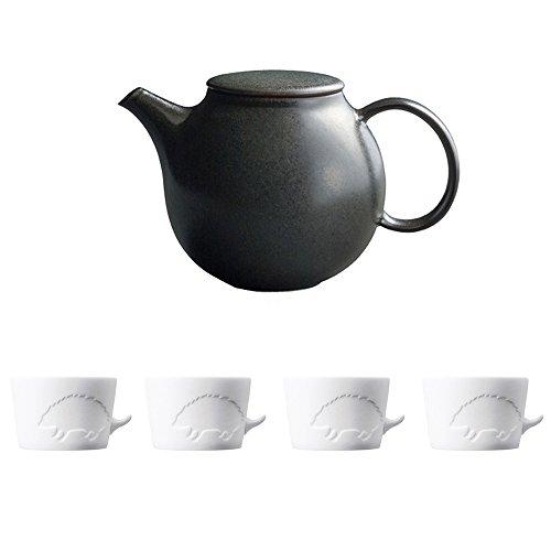 KINTO PEBBLE Black Porcelain Teapot and Four MUGTAIL Hedgehog Porcelain Mug Set of 5