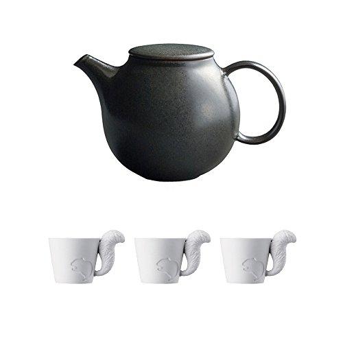KINTO PEBBLE Black Porcelain Teapot and Three MUGTAIL Squirrel Porcelain Mug Set of 4