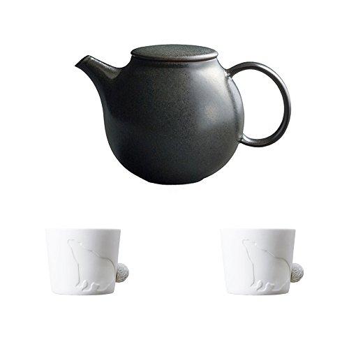 KINTO PEBBLE Black Porcelain Teapot and Two MUGTAIL Bear Porcelain Mug Set of 3
