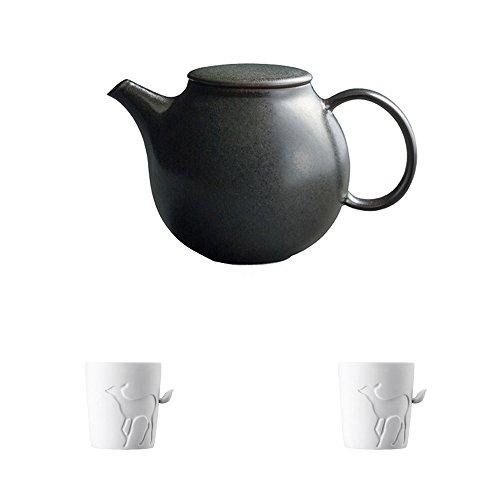 KINTO PEBBLE Black Porcelain Teapot and Two MUGTAIL Fawn Porcelain Mug Set of 3