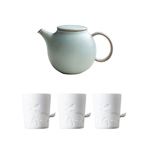 KINTO PEBBLE Moss Green Porcelain Teapot and Three MUGTAIL Moose Porcelain Mug Set of 4