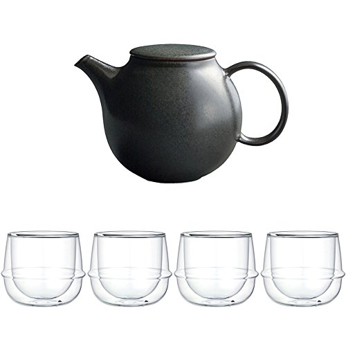 KINTO Pebble Black Porcelain Teapot and Four KRONOS Double Wall Wine Glass Set of 5
