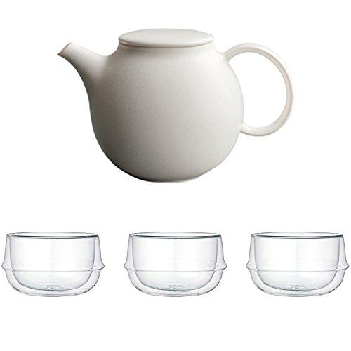 KINTO Pebble White Porcelain Teapot and Three KRONOS Double Wall Glass Soup Bowl Set of 4